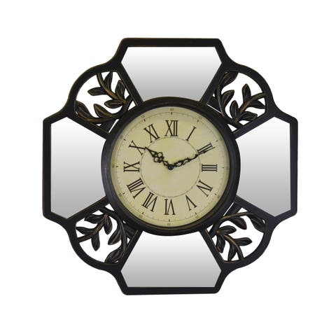 Leaves & Mirror Brown Wall Clock Roman Numerals, Vintage Style Nature Wall Art Home or Office Decor