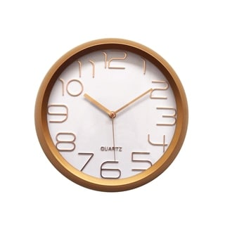 Rose Gold Round Clock Silent Battery Operated Classic Minimal Wall Décor