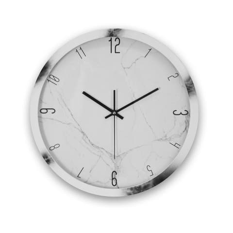 Marble Clock, Round Wall Clock Marble Pattern Silent Battery Powered Black & White