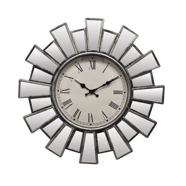 Round Silver & Mirror Sunburst Wall Clock Roman Numerals Battery Operated Elegant Wall Decor for Home Or Office
