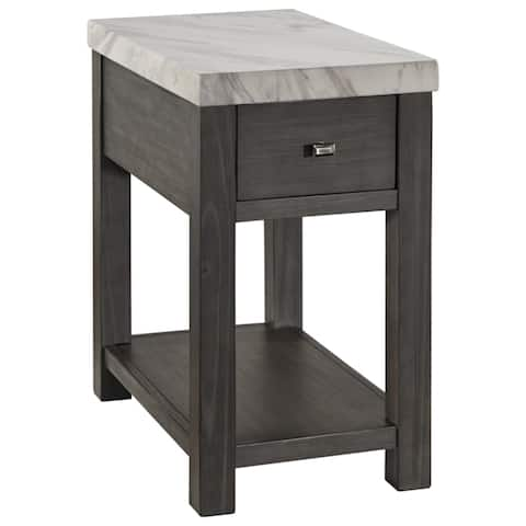 Vineburg Contemporary Chair Side End Table White/Gray