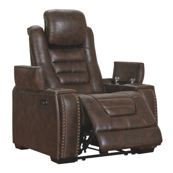 Game Zone Contemporary Power Recliner Adjustable Headrest Bark