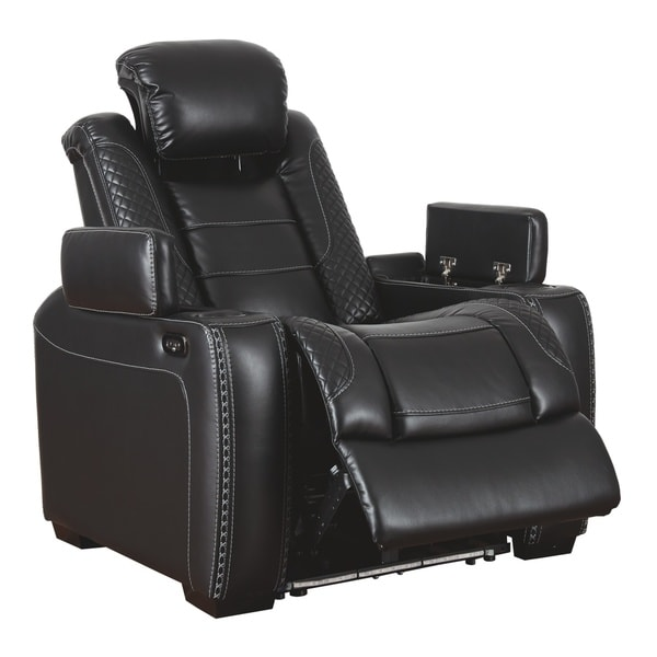 Party Time Contemporary Power Recliner Adjustable Headrest Midnight