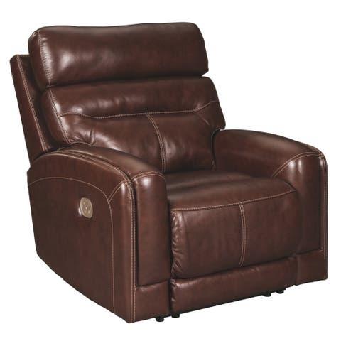 Sessom Contemporary Power Recliner Adjustable Headrest Walnut