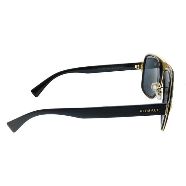 Polarized Grey Lens Versace Medusa Charm Sunglasses VE2199 100281 Black