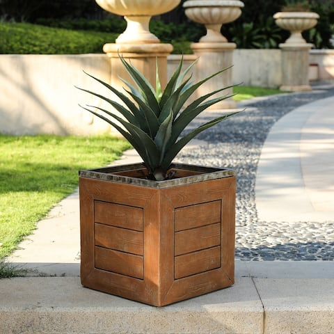 Boulding 16.5-inch Square Fiberclay Crate-style Planter by Havenside Home