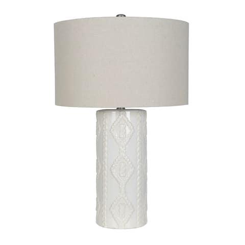 "Lamps Per Se 29"" White Ceramic Table Lamp (Set of 2)"