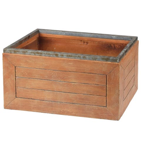 Pichima Rectangular Fiberclay Crate Style Planter by Havenside Home