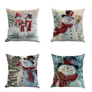 Classic Snowman Christmas Pillow Case 18 x 18 (set of 4)