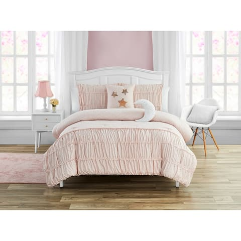 Madison Parker Celestial Princess Pink 5-Piece Smocked Texture Comforter Set