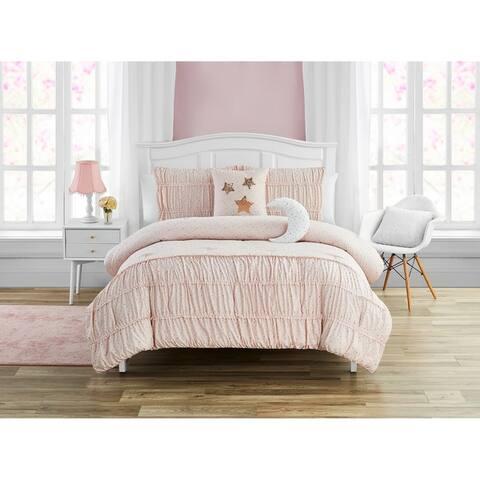 Madison Parker Celestial Princess Pink 5-Piece Smocked Texture Comforter Set