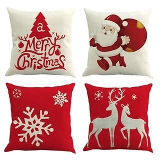 Christmas Theme Pillow Case 18 x 18 (set of 4) [Christmas-b]
