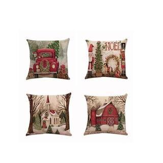 Vintage Christmas Scenery Pillow Case 18 x 18 (set of 4) [02]