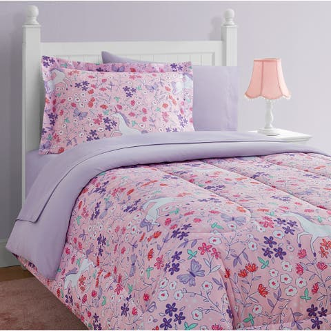 Unicorn Floral Pink/Purple 11-Piece Bed in a Bag With Extra Sheet Set