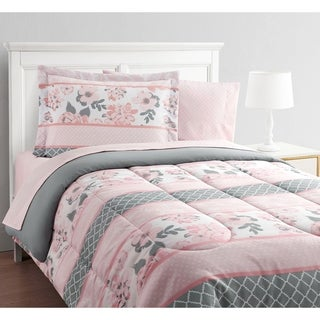 Carley Stripe Floral Pink/Gray 11-Piece Bed in a Bag with Extra Sheet Set