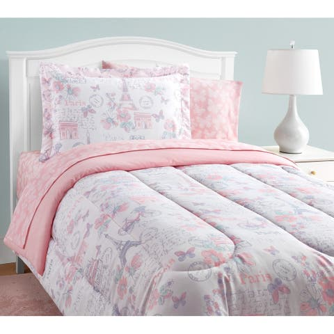Parisian Petals Pink Floral 11-Piece Bed in a Bag With Extra Sheet Set