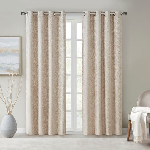 SunSmart Lavine Branch Jacquard Total Blackout Single Window Panel