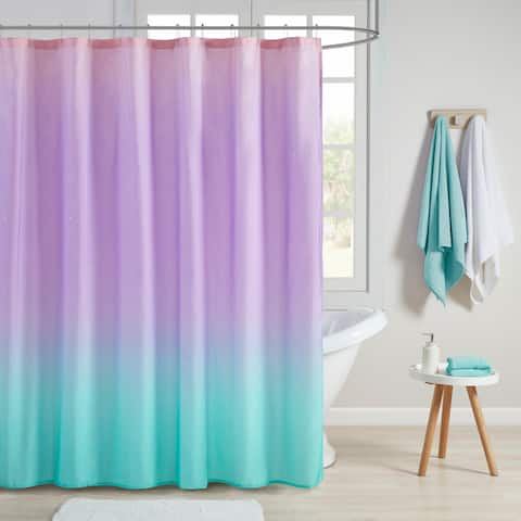 Mi Zone Sparkle Aqua Ombre Printed Glitter Shower Curtain