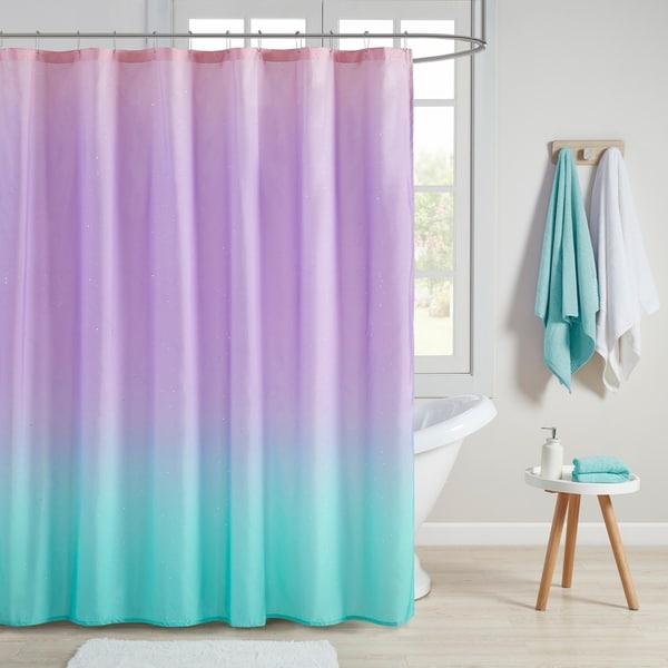 Mi Zone Sparkle Aqua Ombre Printed Glitter Shower Curtain