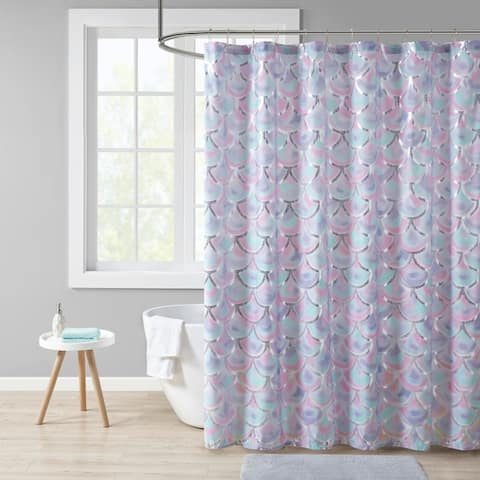 Mi Zone Phoebe Aqua/Purple Metallic Printed Shower Curtain