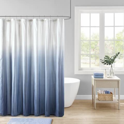 Madison Park Loire Ombre Printed Seersucker Shower Curtain