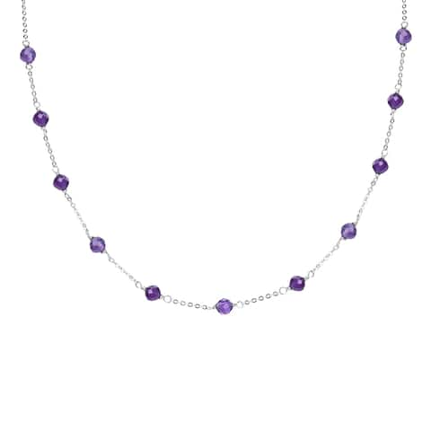 "Sterling Silver with Natural Choice of Gemstone Necklace with 16"" Chain and 2"" Extender"