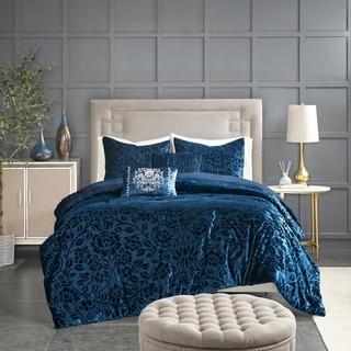 Link to Madison Park Muriel Teal 5 Piece Faux Velvet Comforter Set Similar Items in Comforter Sets
