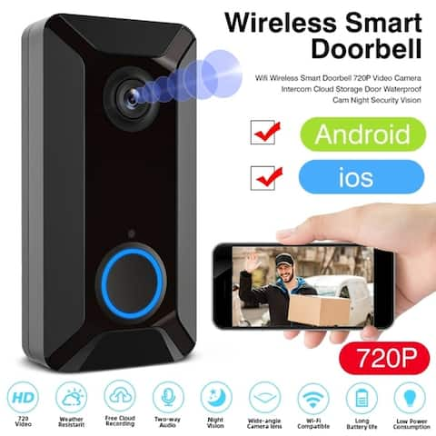 Wifi Wireless Smart Doorbell 720P Video Camera Intercom Cloud Storage Waterproof Cam Security Doorbell - Black