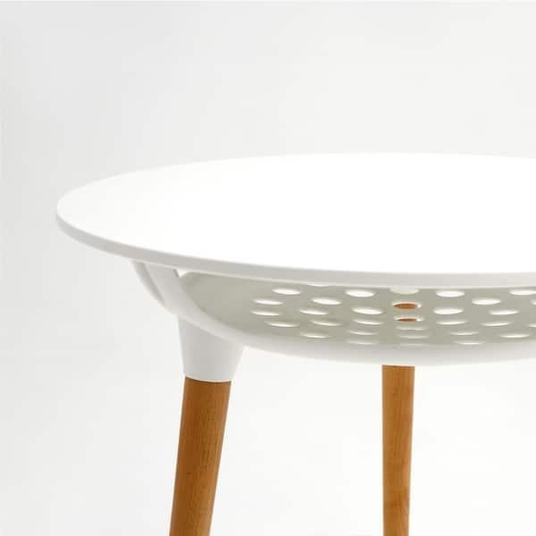 Mcombo Modern Round White Dining Table Leisure Wood Tea