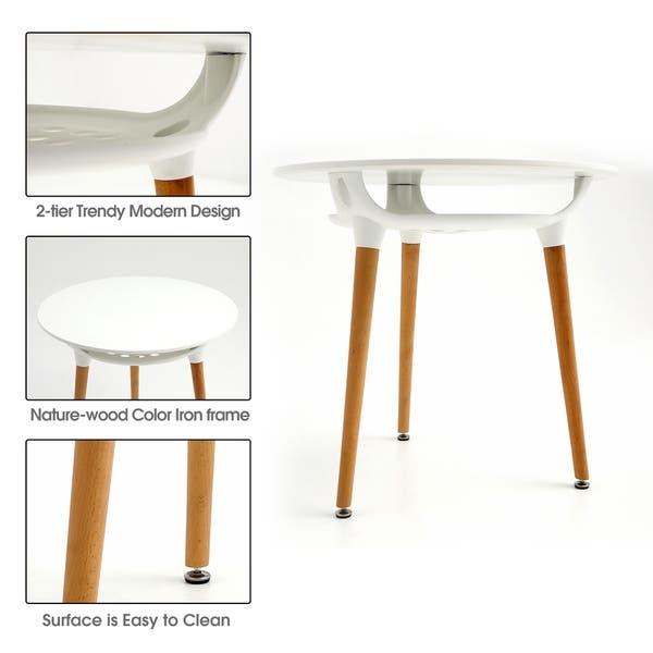 Shop Mcombo Modern Round White Dining table Leisure Wood Tea ...