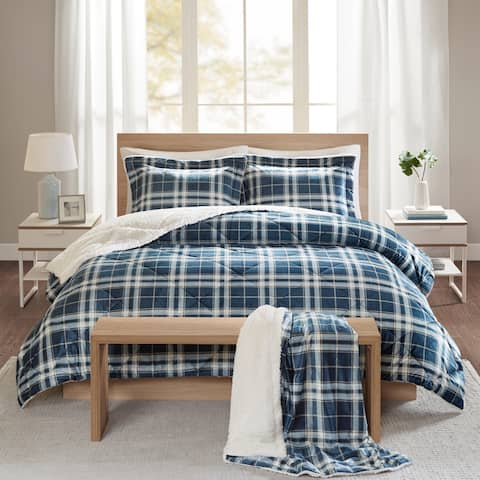 Comfort Spaces Garret Navy Plaid Print Sherpa Comforter Set with Throw