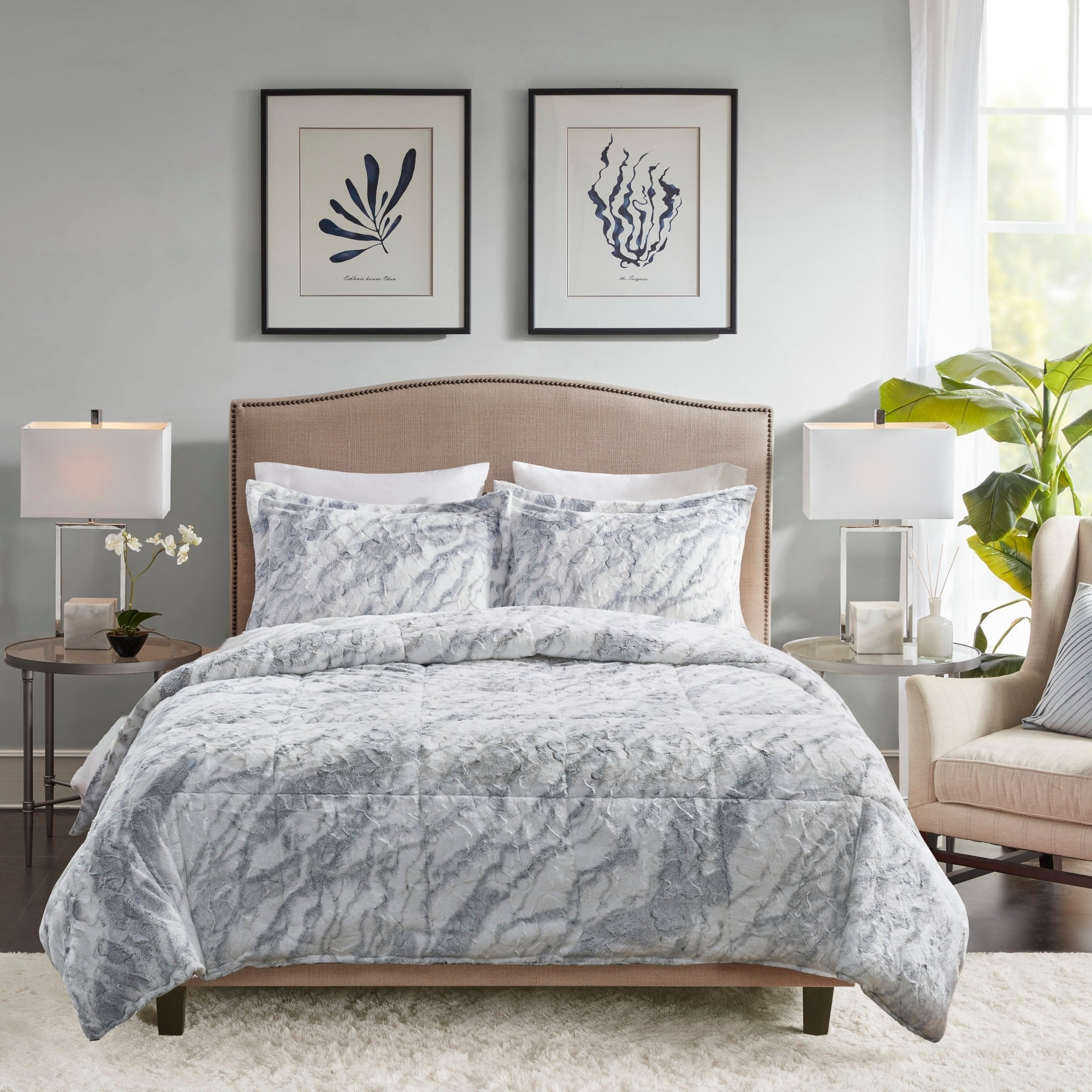 Madison Park Naomi Grey Blue Marble Comforter Set On Sale Overstock 28948835