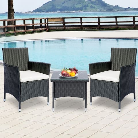 LivEditor Patio Porch Furniture Sets 3 Pieces PE Rattan Wicker Chairs Beige Cushion with Table