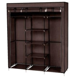 Clothes Closet Non-Woven Fabric Wardrobe Double Rod Storage Organizer Dark Brown