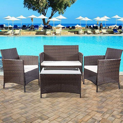 LivEditor 4 PC Patio Furniture Sets Outdoor Garden Rattan Furniture Sets Cushioned Seat Wicker Sofa (Brown)