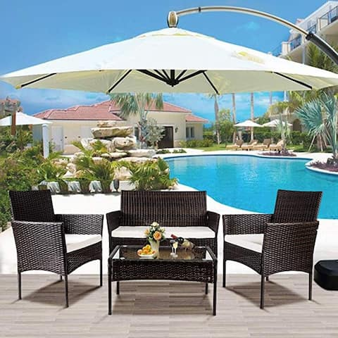LivEditor 4 PC Outdoor Garden Rattan Patio Furniture Set Cushioned Seat Wicker Sofa (Brown)