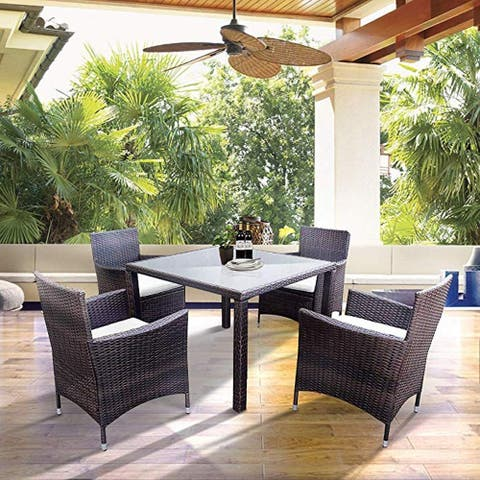 LivEditor Patio Furniture, 5 PCS All Weather Resistant Heavy Duty Wicker Dining Set with Stacking Chairs