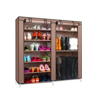 27-Pairs Portable Boot Rack Double Row Shoe Rack Covered with Nonwoven Fabric, 7-Tiers - Coffee