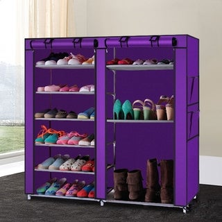 27-Pairs Portable Boot Rack Double Row Shoe Rack Covered with Nonwoven Fabric, 7-Tiers - Purple