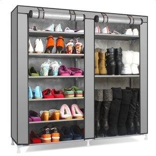 Porch & Den Palermo Grey Non-woven Fabric Covered 7-tier Portable Shoe Rack