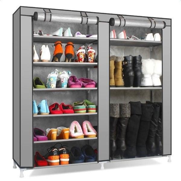 Porch & Den Palermo Grey Non-woven Fabric Covered 7-tier Portable Shoe Rack