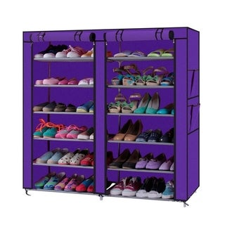 Porch & Den Prickett Purple 7-tier Shoe Rack with Non-Woven Cover