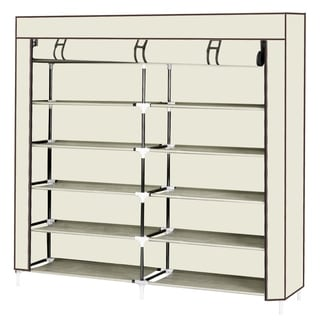 7 Tiers Portable Shoe Rack Closet with Fabric Cover Shoe Storage Organizer Cabinet Beige