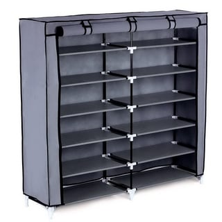 7 Tiers Portable Shoe Rack Closet with Fabric Cover Shoe Storage Organizer Cabinet Grey