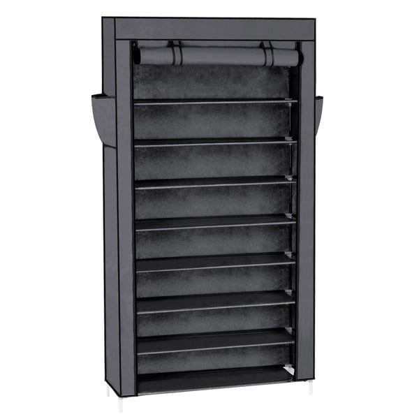 10 Tiers Shoe Rack with Dustproof Cover Closet Shoe Storage Cabinet Organizer Grey