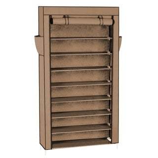 10 Tiers Shoe Rack with Dustproof Cover Closet Shoe Storage Cabinet Organizer Coffee