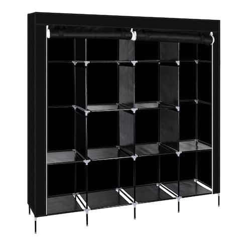 """67"""" Wardrobe Armoire Closet Clothes Storage Rack 12 Shelves 4 Side Pockets, Quick and Easy to Assemble, Black"""
