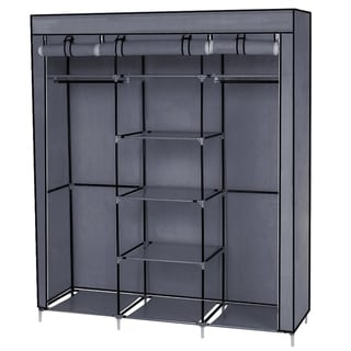 Clothes Closet Non-Woven Fabric Wardrobe Double Rod Storage Organizer Grey