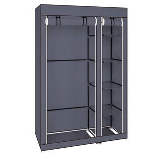 "43"" Portable Clothes Closet Wardrobe with Non-Woven Fabric and Hanging Rod Quick and Easy to Assemble Grey"