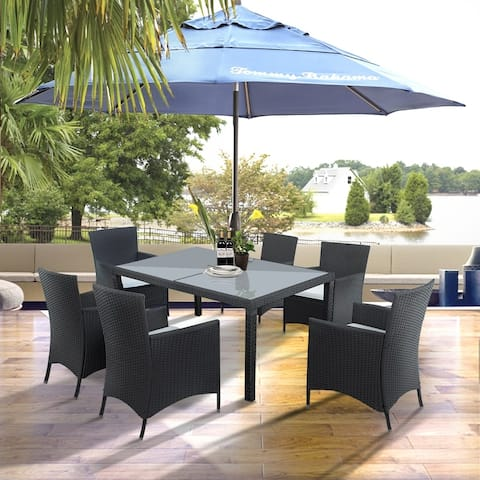 Top Knobs Outdoor 7-piece Rattan/ Glass Patio Dining Set